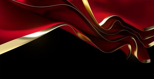 Темно-красная струящаяся бархатная ткань. абстрактный элегантный фон. 3d иллюстрации. волнистая многослойная ткань с золотыми краями. струящаяся шелковистая ткань