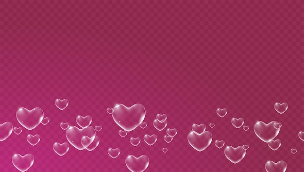 バレンタインカードベクトルの白いハート型のシャボン玉と濃い赤の透明な背景