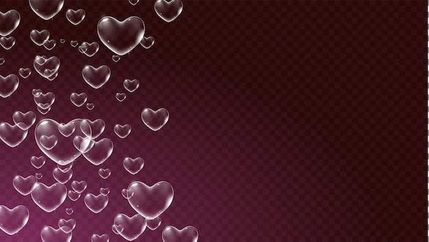 Dark red transparent background with white heartshaped soap bubbles for valentine card vector