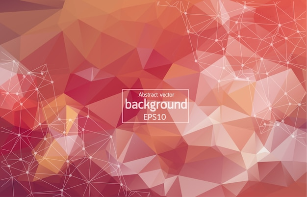 Dark red vector background with dots and lines.