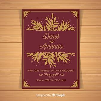 Dark red wedding invitation template