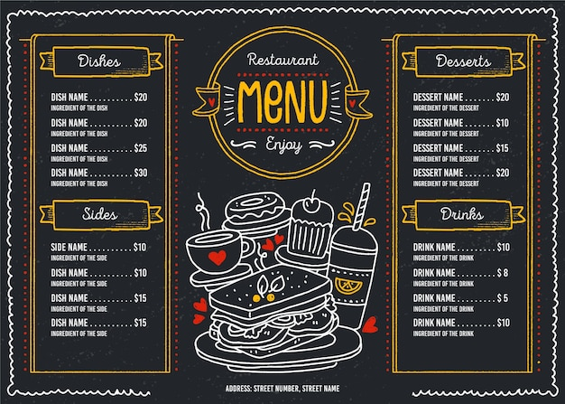 Dark restaurant menu for digital platform in horizontal format