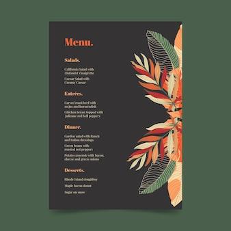 Modello di menu ristorante scuro con ornamenti floreali