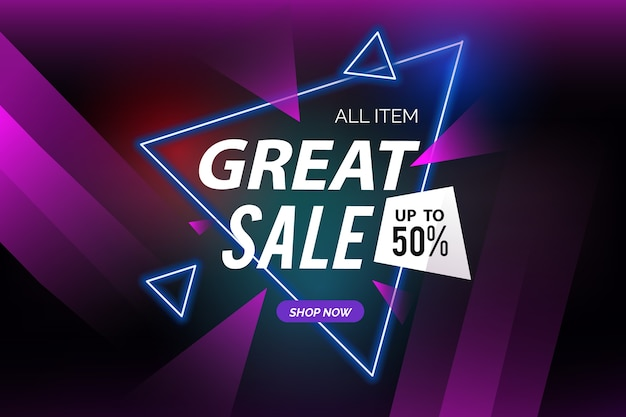 Dark sales background and polygonal shapes