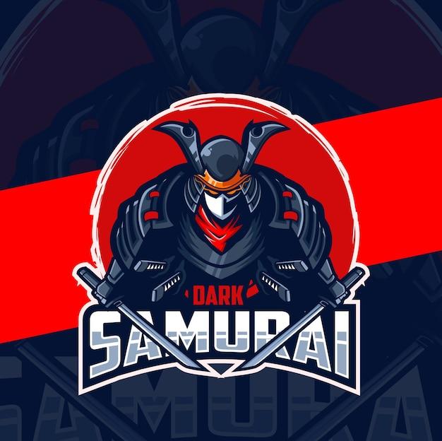 Dark samurai mascot esport logo design
