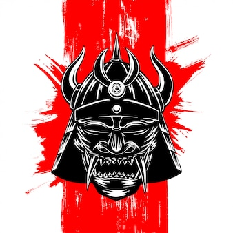Dark samurai mask illustration