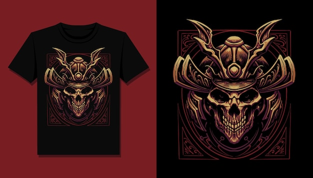 Dark samurai skull t shirt illustration design