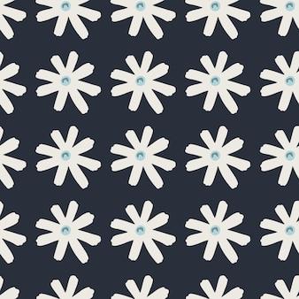 화이트 데이지 기하학적 실루엣과 어두운 원활한 낙서 패턴입니다. 양식화 된 간단한 인쇄. 벽지, 포장지, 섬유 인쇄, 직물에 적합합니다. 삽화.