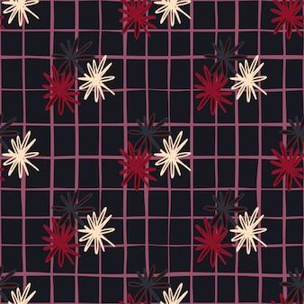 白、赤、黒のデイジーの幾何学的なシルエットと暗いシームレスな落書きのパターン。市松模様の背景を持つ定型化されたシンプルな印刷。