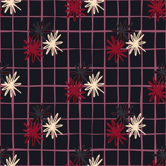 Dark seamless doodle pattern with white, red and black daisy geometric silhouettes. stylized simple print with chequered background.