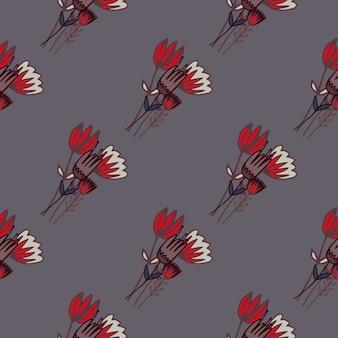 赤いチューリップの花と濃いシームレス花柄輪郭を描かれた花束。灰色の背景。シンプルな植物の背景。
