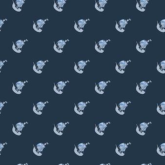 Темный бесшовный узор в морском стиле с простой маленькой синей печатью парусника. приключенческий морской фон.