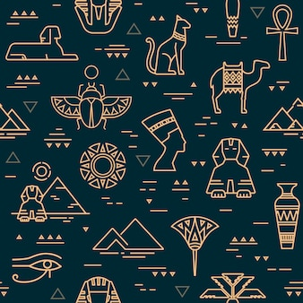 Dark seamless pattern of symbols, landmarks, and signs of egypt