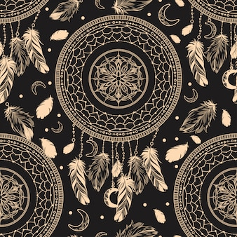 Dark seamless pattern with the image of the dream catcher.