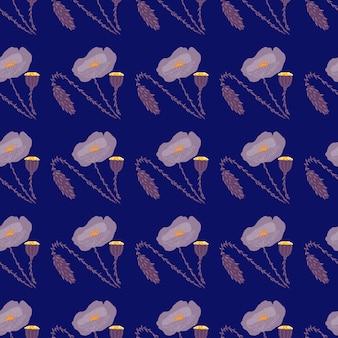 ケシの花の飾りと暗いのシームレスなパターン。明るい植物の要素を持つネイビーブルーの背景。壁紙、テキスタイル、包装紙、布プリントに最適です。 。