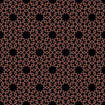 Dark seamless pattern with stylized geometric flowers in oriental style