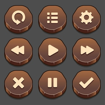 게임 스톤 버튼 요소 및 진행률 표시 줄, 게임 및 앱용 버튼의 밝고 다양한 형태의 어두운 세트.