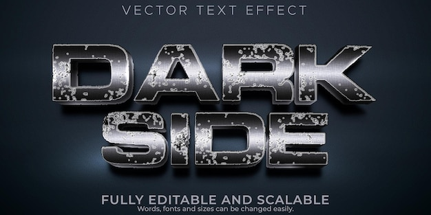 Dark side text effect, editable castle and metallic text style
