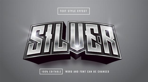Dark silver text style effect editable