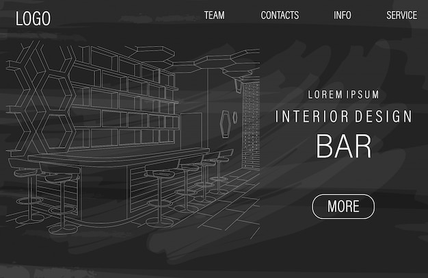 Dark site template with outline sketch of a modern sports bar