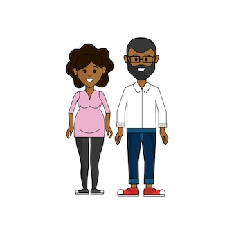 Dark skin couple, man with glasses and woman pregnant