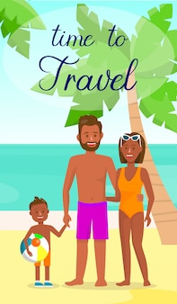 Dark skin family on resort vector flyer with text.