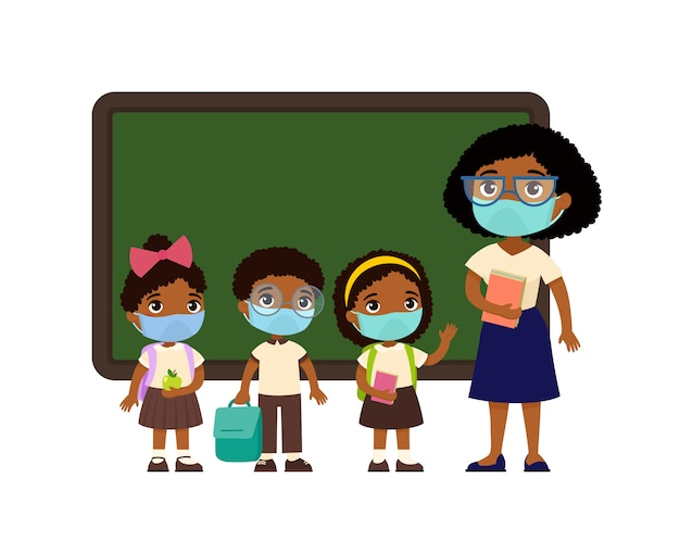 Dark skin female teacher and pupils  with protective masks on their faces. boys and girls dressed in school uniform and female teacher pointing at blackboard cartoon characters. respiratory virus prot