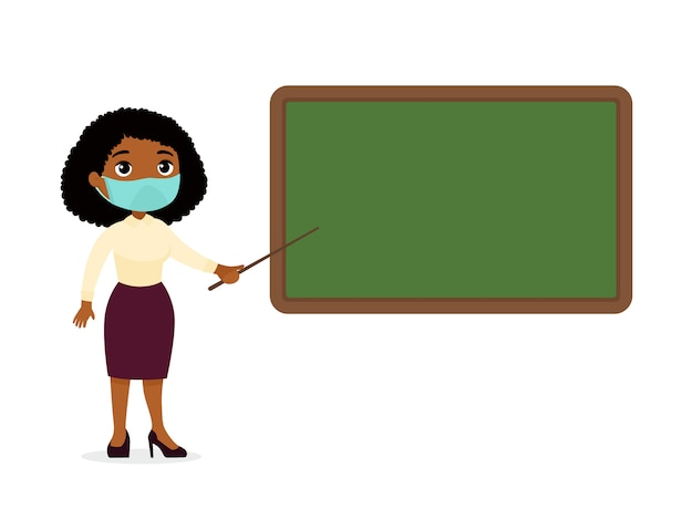 칠판 평면 벡터 일러스트 레이 션 근처에 서있는 그녀의 얼굴에 보호 마스크와 어두운 피부 여성 교사. 교실 만화 캐릭터에 빈 칠판을 가리키는 교사. 호흡기 노출