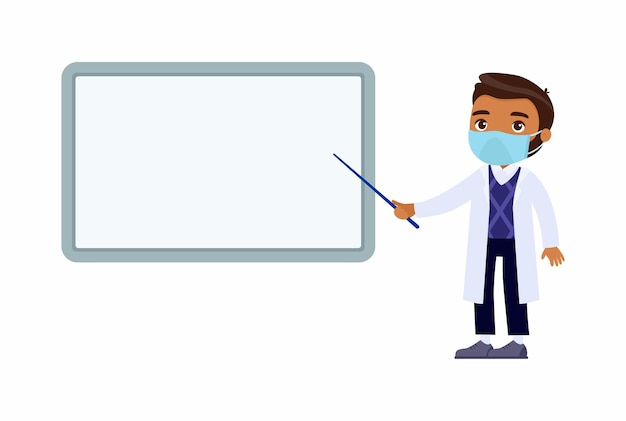 어두운 피부 남성 의사가 빈 의료 데모 보드를 가리 킵니다. 흰 코트를 입은 의사, 얼굴에 보호 마스크가 달린 캐릭터. 바이러스 보호, 알레르기 개념.