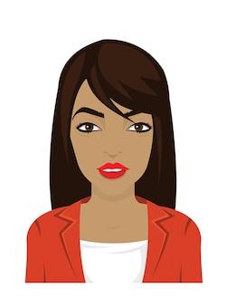 Dark skin woman in flat style vector