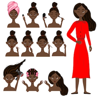 Dark-skinned girl before and after beauty treatments. cartoon style. vector illustration.