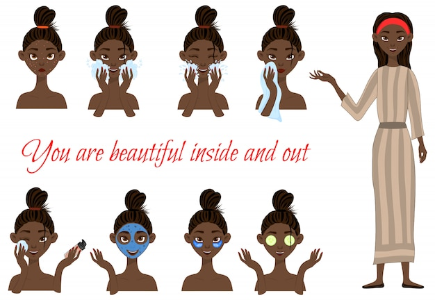 Dark-skinned girl before and after cosmetic procedures. cartoon style.