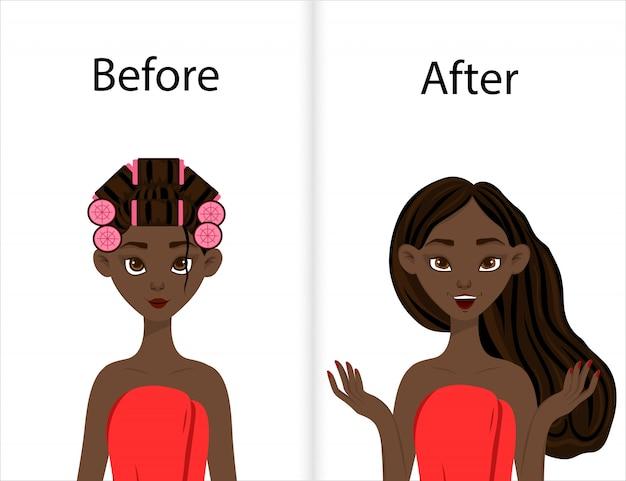 カーラーで髪をスタイリングする前後の浅黒い肌の女の子。漫画のスタイル。図。