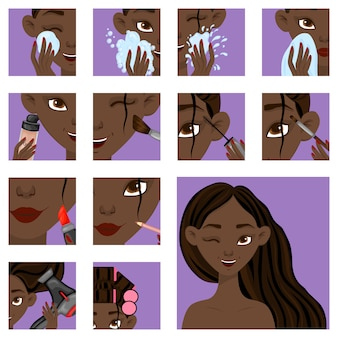 Dark-skinned girl with stages of beauty procedures