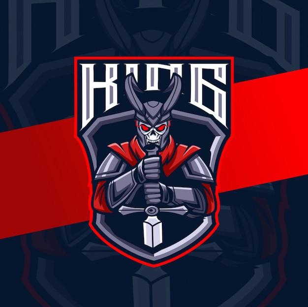 Dark skull king mascot esport logo design