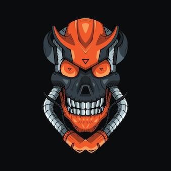 Меха-иллюстрация темного черепа и дизайн футболки