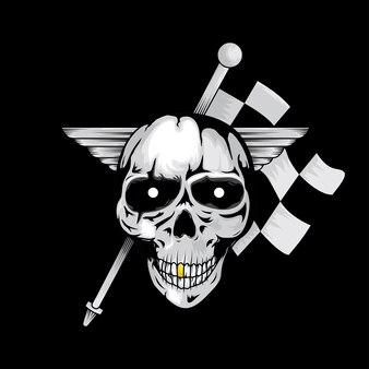 Dark skull street racer illustration