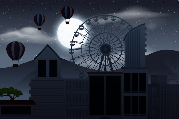Dark sky over the city silhouette with hot-air balloons