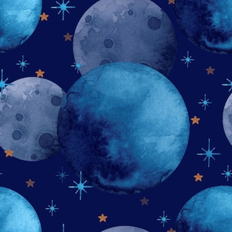 Dark space with stars and planets seamless pattern