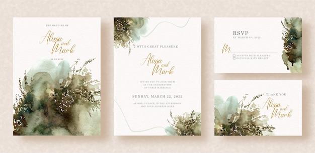 Dark splatters abstract watercolor painting on wedding invitation
