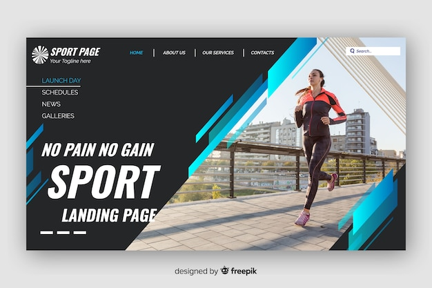 Dark sport landing page with blue lines and photo