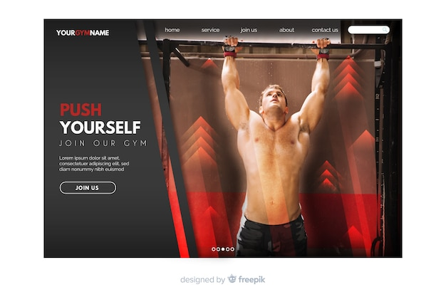 Dark sport landing page with photo and geometric shapes