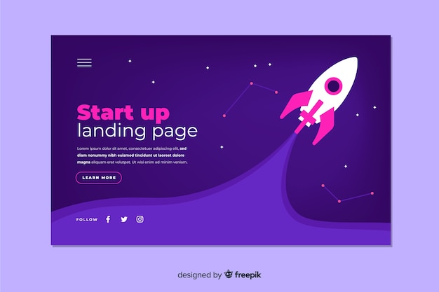 Dark start up landing page with spaceship