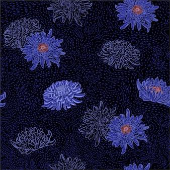 Dark summer night of chrysanthemum oriental blooming flowers with hand drawn brush line seamless pattern