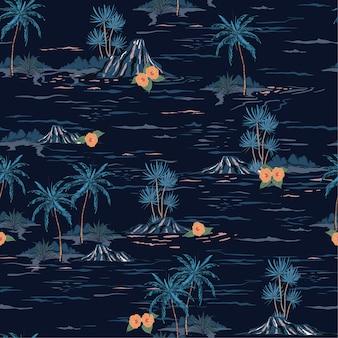 暗い夏の夜の気分のシームレスな島のパターン