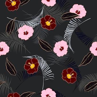Dark summer night  mood seamless vector floral pattern