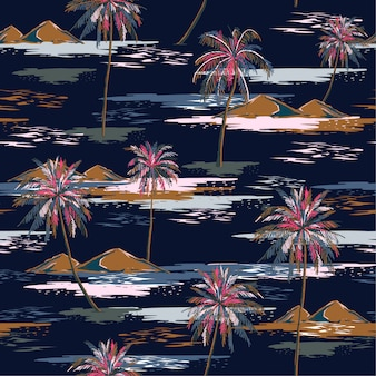 Dark summer night seamless island pattern landscape with colorful palm trees