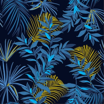 Dark summer seamless tropical pattern palm leaves  vector