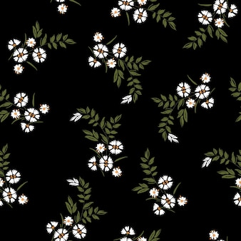 Dark summer trendy white blowing daisy floral pattern meadow flowers. wild botanical motifs scattered random. seamless texture. for fashion prints in hand drawn style on black