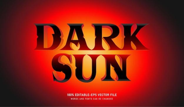 Dark sun text effect 편집 가능한 글꼴, sun 배경 및 검정색 글꼴